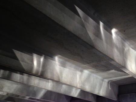 Reflected light on garage ceiling.