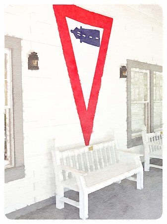Watercolor rendition of porch with lighthouse flag.