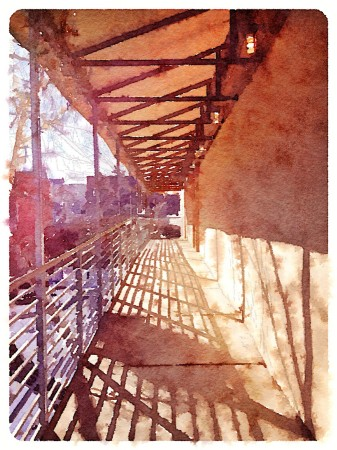 Watercolor style rendition of exterior passageway.