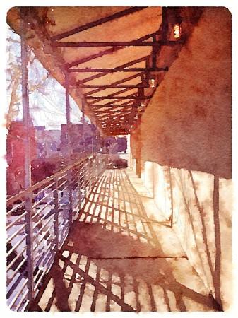 Watercolor style rendition of exterior passageway.