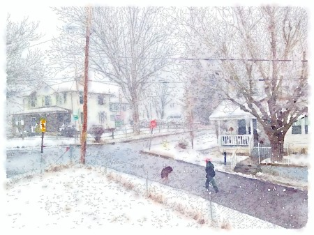 Watercolor style image of snowy intersection with pedestrian and dog.