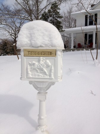 Metal mailbox with snow cap.