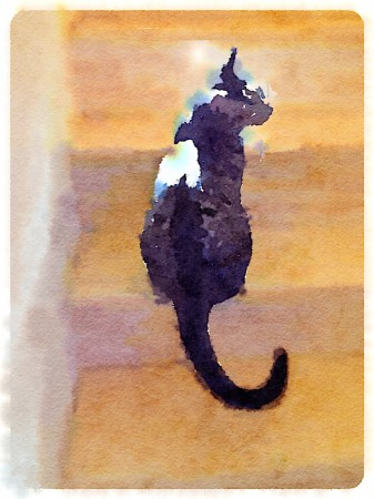 Watercolor-style rendition of cat on stairs.
