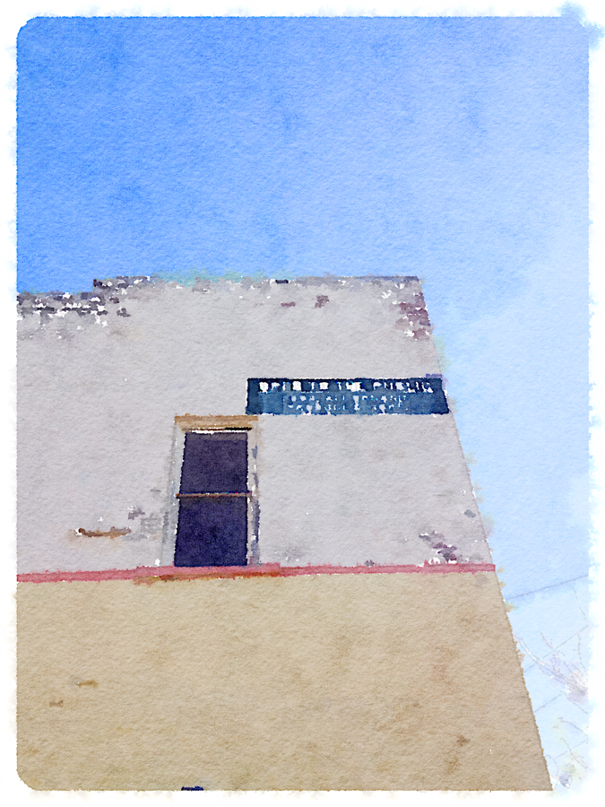 Side of building, watercolor effect.