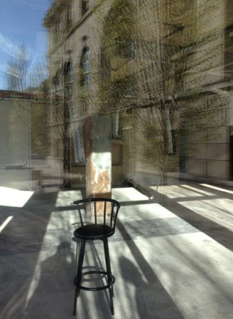 Empty chair, construction, reflection.