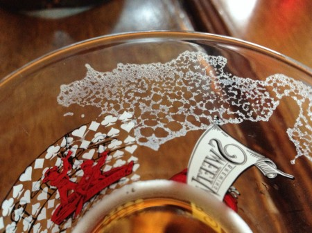 Foam residue on beer glass.